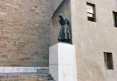 Statue of Jeremie par Rado at St Pierre Square Geneva. Geneva, Switzerland - August 30, 2016: Statue of Jeremie par Rado at St Pierre Square in Geneva Royalty Free Stock Image