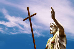 Statue of Jesus Christ in a Blessing Posture Stock Images