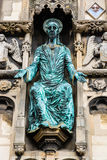 Statue of Jesus on the Christ Church Gate of Canterbury Cathedra. Canterbury, UK: The statue of Jesus on the Christ Church Gate to Canterbury Cathedral Stock Image