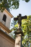 Statue of Jesus Christ crucifixion in front of a catholic church Stock Image