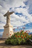 Statue of Jesus Christ at Garajau in Funchal with amazing areal view, Madeira Royalty Free Stock Image