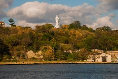 Statue of Jesus Christ on a hill overlooking the bay of Havana. Cuba. stock image