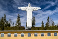 Statue of Jesus Christ at Klin, Slovakia. KLIN, SLOVAKIA - MARCH 17: Monumental statue of Jesus Christ called Rio de Klin on hill Grapa on March 17, 2019 in Klin stock photos