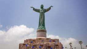 Statue of Jesus Christ and Memorial at Isla Blanca Park on South Stock Image