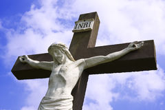 Statue of jesus on the cross Stock Image