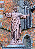 Statue of Jesus. ENGHIEN, BELGIUM-NOVEMBER 2, 2013: Statue of Jesus near Saint-Nicholas parish church Stock Photos