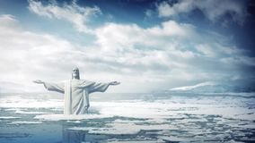 Statue Of Jesus In Rising Sea Levels