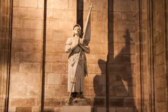 Statue of Joan of Arc Jeanne d'Arc inside the Cathedral of Notre Dame de Paris Stock Photo