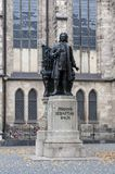 Statue of Johann Sebastian Bach, world famous music composer, at St Thomas Church in Leipzig, Germany. Leipzig, Germany - October 2018: Statue of Johann royalty free stock photos