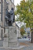Statue of Johann Sebastian Bach, world famous music composer, at St Thomas Church in Leipzig, Germany. Leipzig, Germany - October 2018: Statue of Johann royalty free stock photography