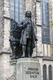 Statue of Johann Sebastian Bach, world famous music composer, at St Thomas Church in Leipzig, Germany. Leipzig, Germany - October 2018: Statue of Johann royalty free stock images