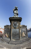 Statue of John of Nepomuk on Charles Bridge Royalty Free Stock Photography