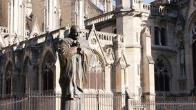 Statue of John Paul II. In the garden next to the Cathedral of Notre Dame in Paris, France Stock Images