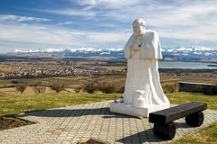 Statue of John Paul II at Klin, Slovakia. Statue of John Paul II at Klin in Slovakia. Region Orava and High Tatras at background royalty free stock images