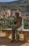 The statue of Josep Pla. An iron statue of the famous catalan author Josep Pla at the Sant Miquel del Fai monastery in Catalonia royalty free stock images