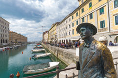 The statue of Joyce in Trieste. The statue of the Irish writer James Joyce on the bridge of Ponte Rosso in Trieste, Italy 29th april 2017 Stock Photography