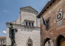 The statue of Julius Caesar in Largo Boiani in Cividale del Friuli, Udine, Friuli Venezia Giulia, Italy stock photography