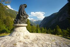 Statue of Julius Kugy. Statue of a famous slovenian climber and botaniste Julius Kugy Royalty Free Stock Images