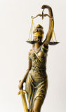 Statue of Justice. A statue of Justice, the focus is on scales royalty free stock image