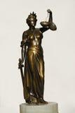 Statue of justice. Antique bronze statue of justice stock photo