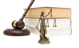 Statue of justice, books and gavel on white background Royalty Free Stock Photos