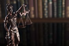 Law theme – court library. Statue of justice in the court library Stock Images