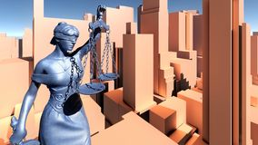 Statue of justice, Crime in city concept, Temida - Themis 3d rendering Royalty Free Stock Image