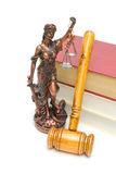 Statue of justice, gavel and books on white background Royalty Free Stock Image
