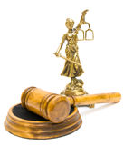 Statue of justice and gavel on white background Royalty Free Stock Photography