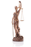 Statue of justice isolated. On the white background royalty free stock photo