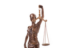 Statue of justice isolated. On the white background stock photography