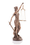 Statue of justice isolated on the white background Stock Photos