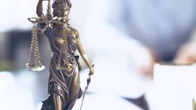 Lady Justice Statue. The Statue of Justice - lady justice or Iustitia / Justitia the Roman goddess of Justice stock video footage