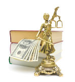 Statue of justice, money and books on a white Stock Images
