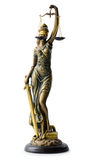Statue of Justice, over white. A statue of Justice, isolated over white stock photos