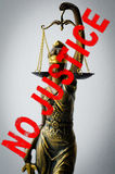 Statue of Justice - sign no justice Stock Image