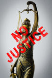 Statue of Justice - sign no justice Royalty Free Stock Photography