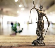 Statue of justice. Advocate antique arbitration background balance blind stock photography
