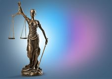 Statue of justice. Advocate antique arbitration background balance blind stock photo