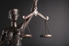 Statue of justice. Lawyer judge court litigation rule symbol Stock Image