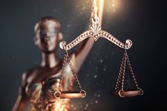 Statue of justice. Lawyer judge court litigation rule symbol stock photo