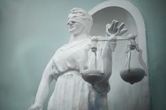 Statue of Justice. Statue made of plaster. stock photo