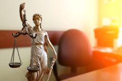 The Statue of Justice symbol, legal law concept image stock photos