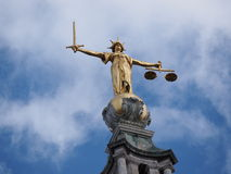Statue of Justice. On top of Old Bailey, Criminal court, London stock photo