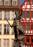 Statue of Justizia at Romer in Frankfurt Stock Photos