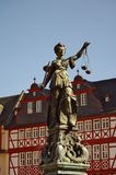 Statue of Justizia at Romer in Frankfurt Royalty Free Stock Images