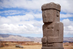 Statue on Kalasasaya temple in Tiwanaku stock photos