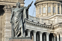 Statue and Kazan Cathedral, Saint Petersburg Royalty Free Stock Photography