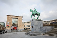 Statue of King Albert I at the Mont des Arts in Brussels Royalty Free Stock Photography