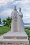 Statue of King Andrew I and Anastasia near the church of Benedic Stock Photography